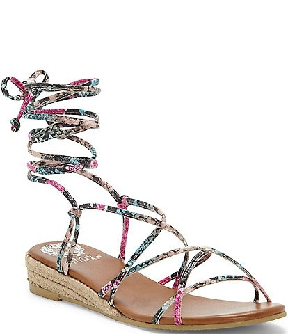 Vince Camuto Prasetta Snake Print Leather Strappy Espadrille Wedges