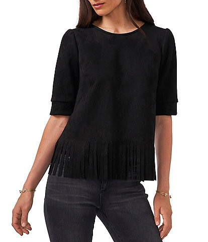 Vince Camuto Puff Shoulder Pleated Stretch Faux Suede Amelia Top