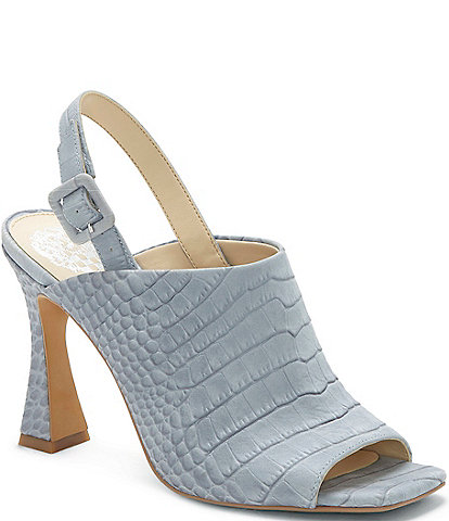 Vince Camuto Releen Croco Embossed Leather Square Toe Dress Sandals
