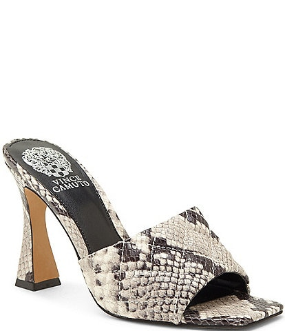 Vince Camuto Reselm Open Toe Snake Print Quilted Leather Mules