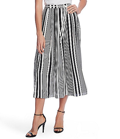 Vince Camuto Rope Belt Striped Midi Skirt