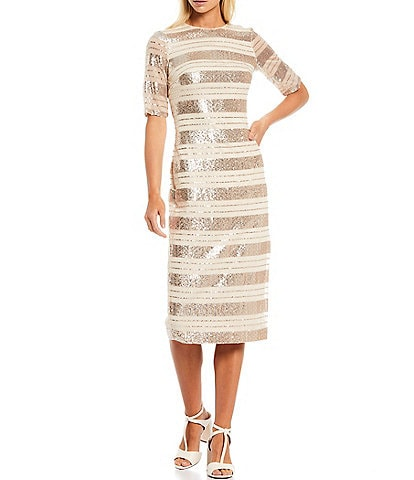 Vince Camuto Round Neck Short Sleeve Sequin Striped Sheath Dress