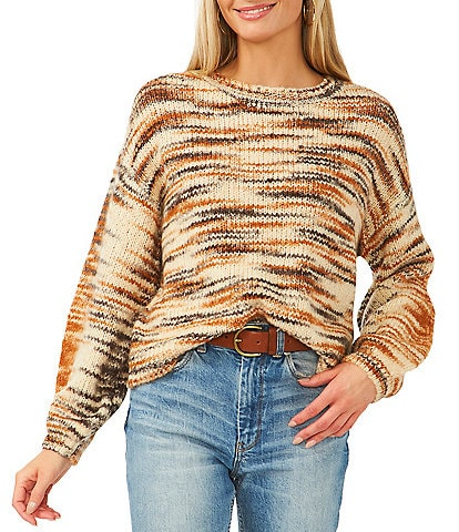 Vince Camuto Round Neck Space Dyed Yarn Statement Sweater