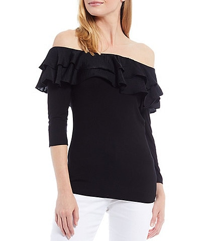 Vince Camuto Ruffle Off-the-Shoulder 3/4 Sleeve Top