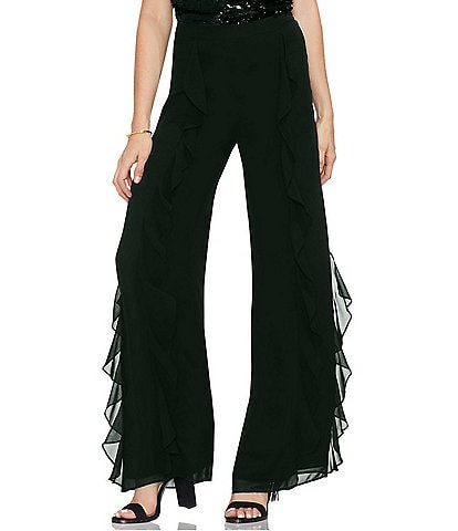 Vince Camuto Ruffle Wide Leg High Rise Pant