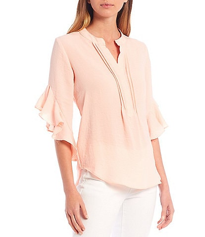 Vince Camuto Ruffled 3/4 Sleeve Henley Blouse