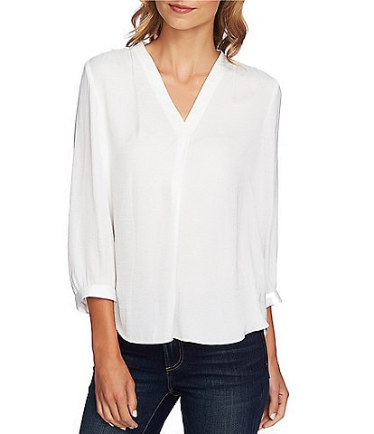 Vince Camuto Rumple 3 4 Sleeved V-Neck Blouse 266a269f1