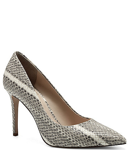 Vince Camuto Savilla Snake Printed Leather Pointed Toe Pumps
