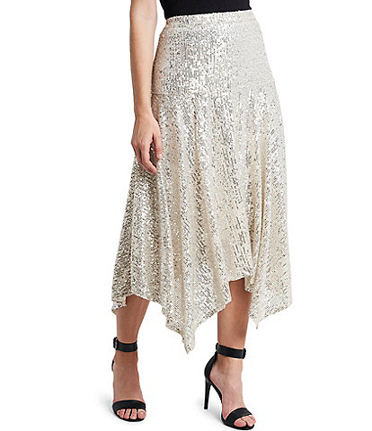 Vince Camuto Sequined Asymmetrical Midi Skirt