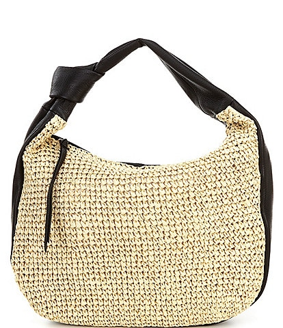 Vince Camuto Shany Straw and Leather Hobo Bag