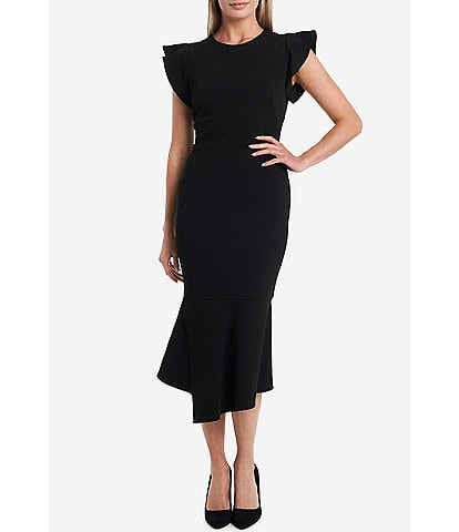 Vince Camuto Short Sleeve Asymmetrical Peplum Midi Dress