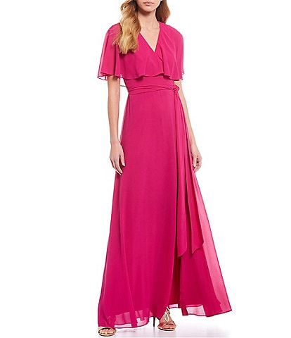 Vince Camuto Short Sleeve Cape Faux Wrap Gown