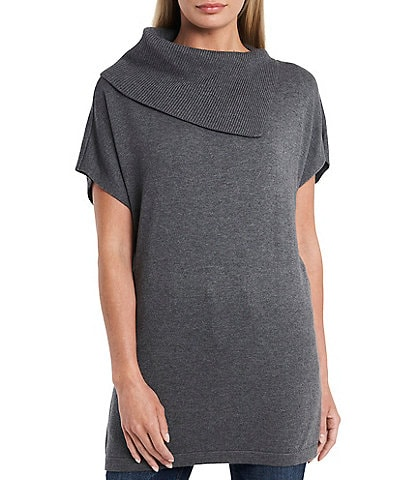 Vince Camuto Short Sleeve Cowl Neck Slouchy Sweater Tunic