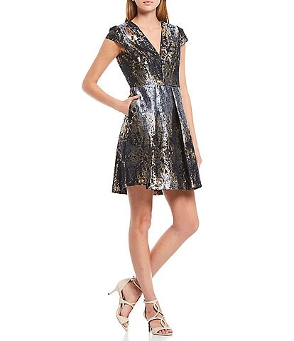 Vince Camuto Short Sleeve Foiled Metallic Fit & Flare Dress