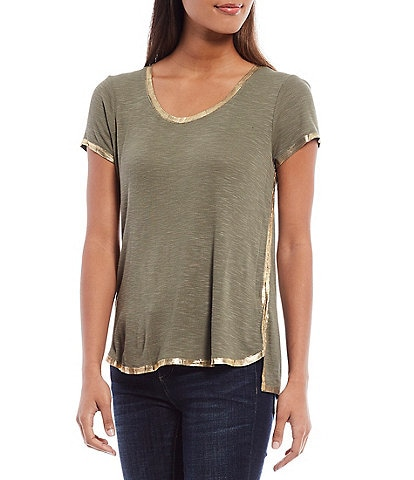 Vince Camuto Short Sleeve Foiled Trim Scoop Neck Tee
