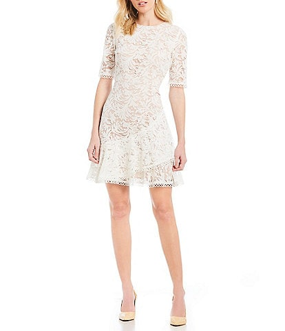 Vince Camuto Short Sleeve Lace Ruffle Hem Dress