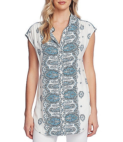 Vince Camuto Short Sleeve Medallion Print Button Down Tunic