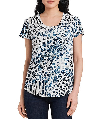 Vince Camuto Short Sleeve Mixed Animal Print Tee