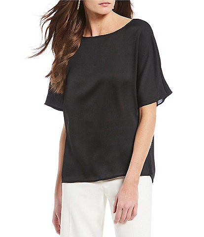 Vince Camuto Short Sleeve Pleat Back Hammered Satin Blouse