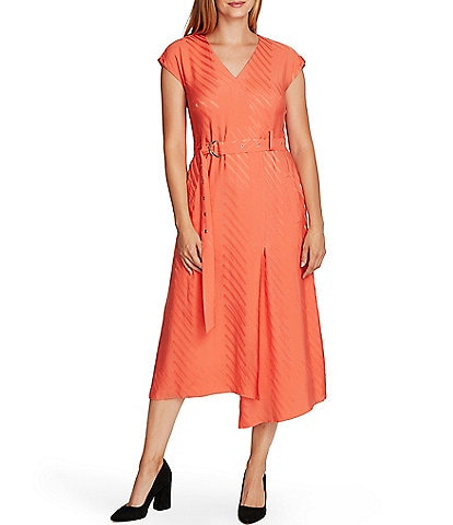 Vince Camuto Short Sleeve Satin Geometric Jacquard Belted A-Line Midi Dress