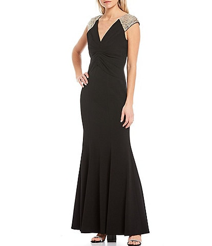 Vince Camuto Short Sleeve Sequined Yoke Gown