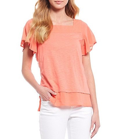 Vince Camuto Short Sleeve Square Neck Layered Cotton Blend Blouse