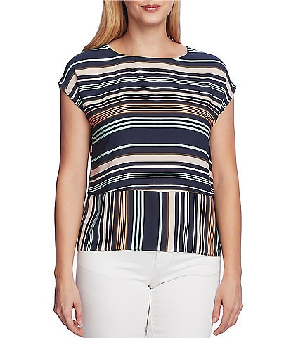 Vince Camuto Short Sleeve Striped Extended Shoulder Blouse