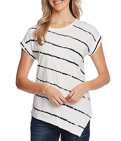 Vince Camuto Short Sleeve Tie Dye Striped Asymmetrical Cotton Blend Tee