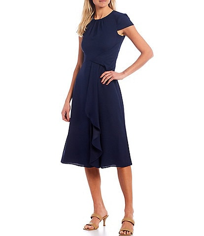 Vince Camuto Short Sleeve Twist Front A-Line Dress