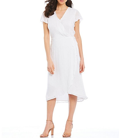 Vince Camuto Short Sleeve V-Neck Eyelet Lace Wrap Midi Dress