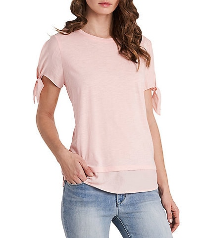 Vince Camuto Short Tie Sleeve Mix Media Tee