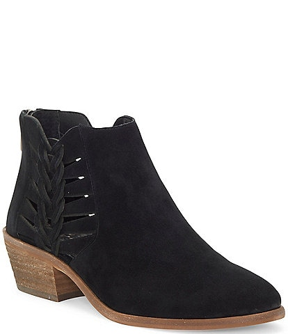 Vince Camuto Suede Side Cut Out Block Heel Ankle Booties