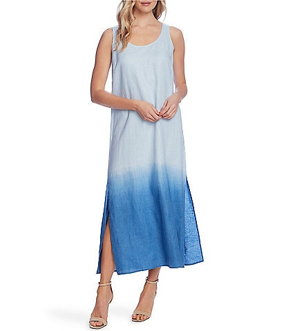 Vince Camuto Side Slit Dip-Dye Scoop Neck Linen Midi Tank Dress