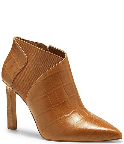 Vince Camuto Sindarah Pointed Toe Ankle Croco Embossed Leather Booties