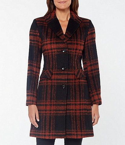 Vince Camuto Single Breasted Plaid Wool Blend Coat