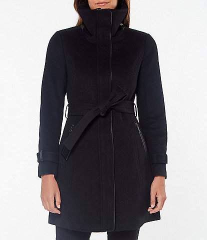Vince Camuto Single Breasted Wool Blend Belted Zip Front Walker Coat