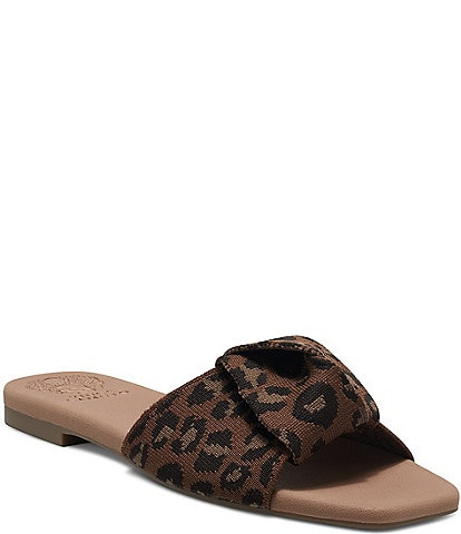Vince Camuto Skylinna Washable Leopard Print Knotted Flat Sandals