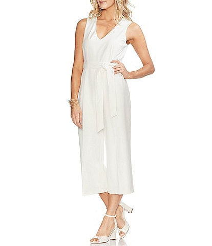 Vince Camuto Sleeveless Belted Wide Leg Crop Jumpsuit