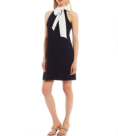 Vince Camuto Sleeveless Bow Neck Contrast Stretch Crepe Shift Dress