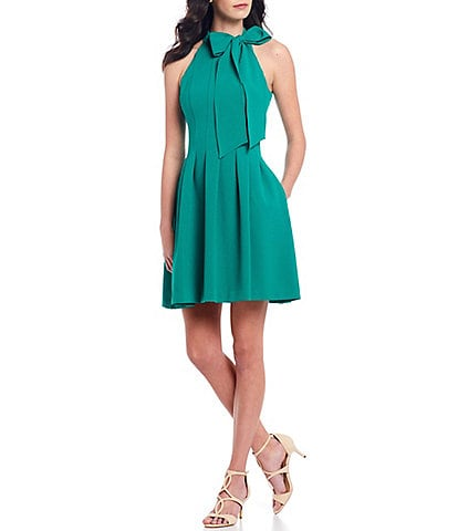 Vince Camuto Sleeveless Bow Neck Fit and Flare Dress