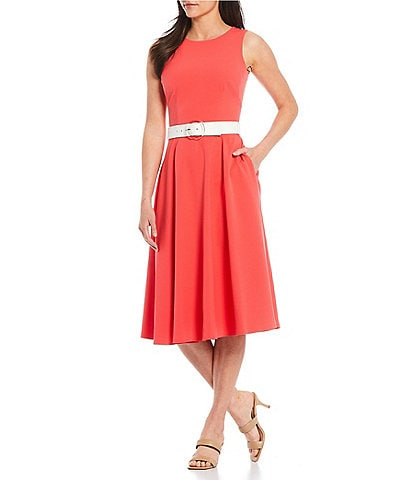 Vince Camuto Sleeveless Contrast Belted A-Line Dress