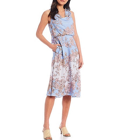Vince Camuto Sleeveless Cowl Neck Floral Dress