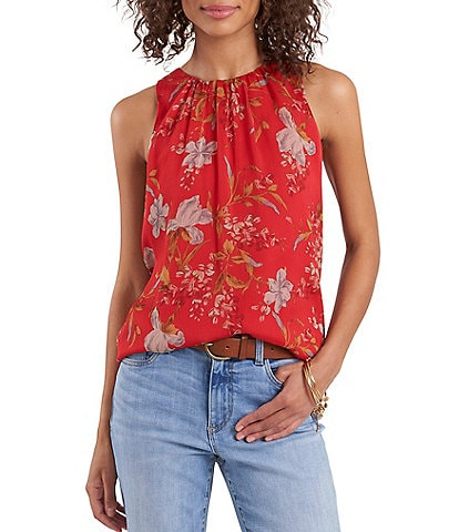 Vince Camuto Sleeveless Crew Neck Graceful Wildflower Top