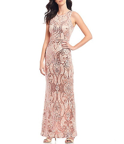 Vince Camuto Sleeveless Embroidered Sequin Gown