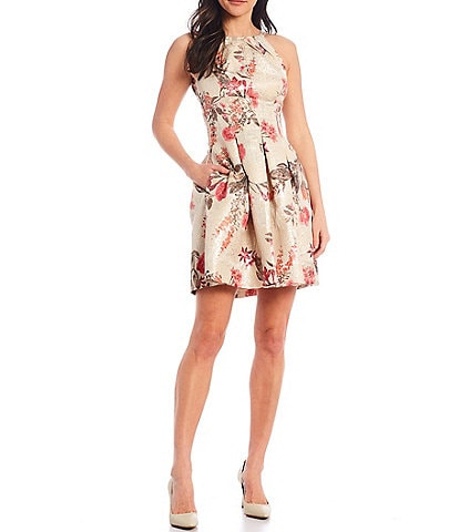 Vince Camuto Sleeveless Floral Jacquard Fit & Flare Dress
