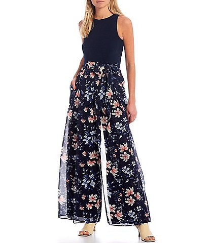 Vince Camuto Sleeveless Floral Wide Leg Jumpsuit