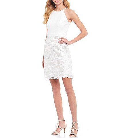 Vince Camuto Sleeveless Halter Embroidered Skirt Sheath Dress