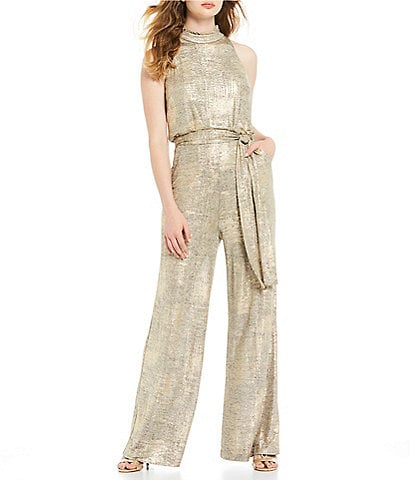 Vince Camuto Sleeveless Halter Ruffle Mock Neck Metallic Belted Wide Leg Jumpsuit