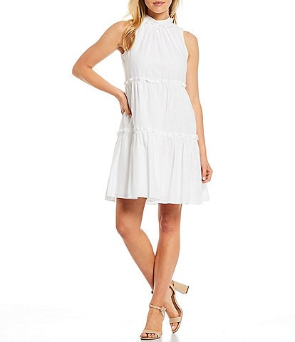Vince Camuto Sleeveless Hip Pocket Tiered Linen Blend Dress
