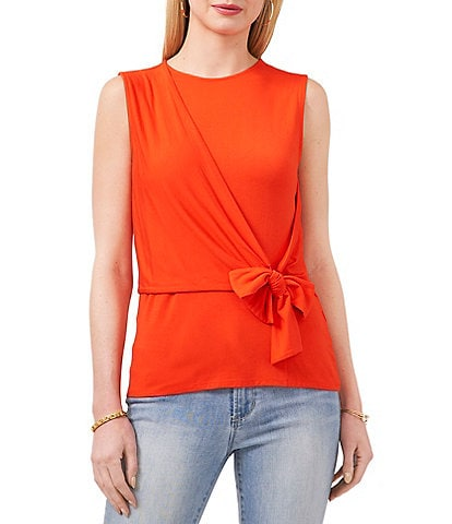 Vince Camuto Crew Neck Sleeveless Knot Front Knit Top